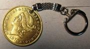 Брелок с монетой 20 долларов 1879 года